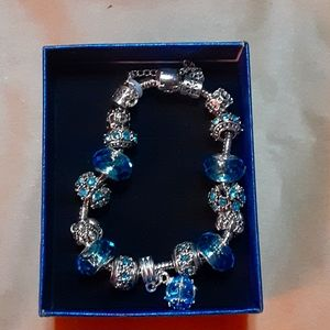 New Blue Glass Bead and Stainless Steel Bracelet